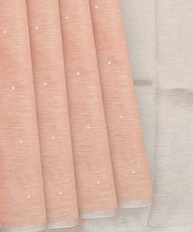 Peach Linen Saree with flower embroidery