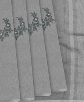 Grey Linen Saree with flower motif embroidery