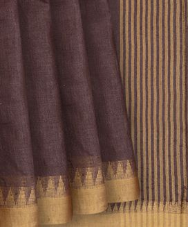 Brown Blended Linen Saree With Golden Zari Temple Border