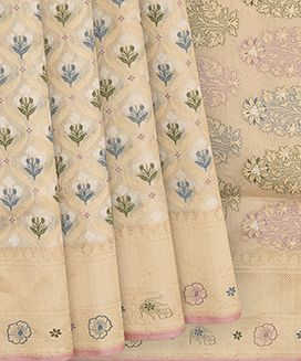 Cream Handwoven Benares Tissue Silk Saree With Floral Motifs In Jamdani Weave With Gold And Silver Zari