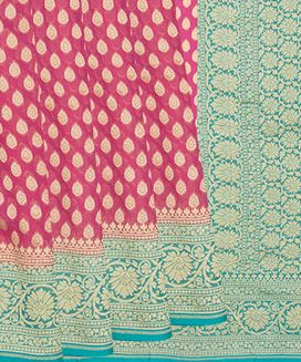 Hot Pink Handwoven Khaddi Georgette Saree With Contrast Turquoise Border