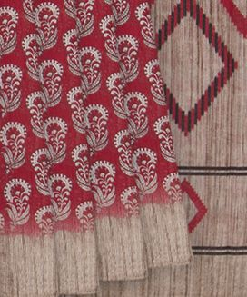 Red Blended Cotton Saree With Flower Print on Body