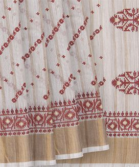 Off White Handwoven Keecha Embroidery Blended Cotton Saree with Floral Diagonal Stripes