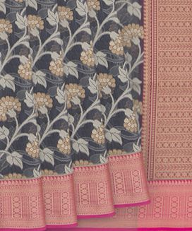 Grey Blended Cotton Saree with Flower Vine Motifs in Body And Contrast Rose Border