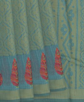Teal Blended Cotton Saree With Floral Motifs And Moghul Flower Embroidery In Border