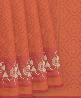 Peach Blended Cotton Saree With Floral Motifs And Worli art Embroidery In Border