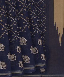 Midnight Blue Blended Cotton Saree With Diamond Checks and Elephant Motif in Embroidery