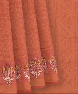 Peach Blended Cotton saree With Floral Motifs and Tribe Embroidery In Border