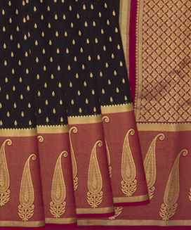 Brown Mysore Silk Saree with Paisley Motifs On Contrast Pink Border