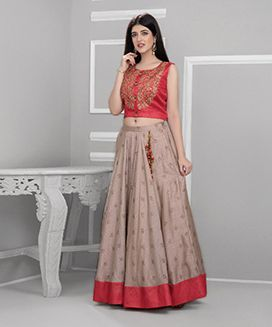 Red Ash Brown Embroidered Skirt Set