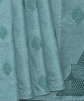 Teal Blended Raw Silk Saree With Cut Work Embroidery and Floral Butta