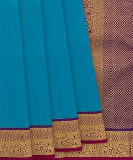 Turquoise Handwoven Kanchipuram Korvai Silk Saree With Horse and Elephant Motifs in Border