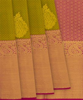 Olive Green Handwoven Kanchipuram Korvai Silk Saree with Floral Butta in Evening Morning Border