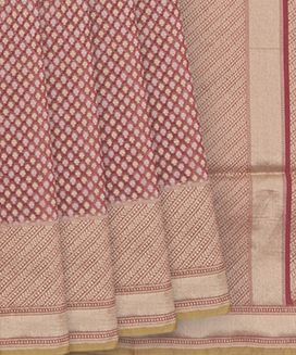 Dusty Pink Handwoven Benares Cotton Saree With Gold and Silk Buttas