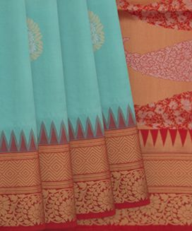 Turquoise Handwoven Soft Silk Saree With Contrast Red Border