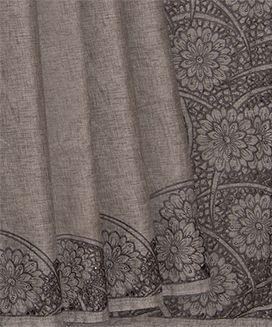Grey Blended Raw Silk Saree With Cut Work Embroidery in Flower Motif
