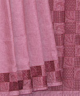 Dusty Pink Blended Raw Silk Saree with Cut Work Jal embroidery in Checks