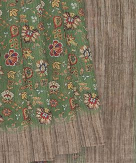 Sage Green Blended Cotton Saree with Floral Print