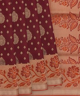 Maroon Handwoven Soft Silk Saree with Floral Butta