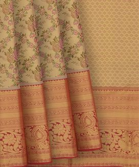 Gold Handwoven Kanchipuram Tissue Korvai Silk Saree With Annam And Paisley Motifs In Evening Morning Border