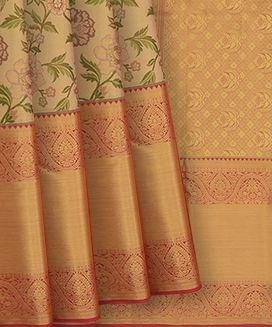 Gold Handwoven Kanchipuram Tissue Korvai Silk Saree With Paisley  and Flower Bud Motifs In Evening Morning Border
