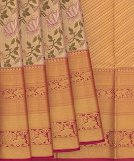 Gold Handwoven Kanchipuram Tissue Korvai Silk Saree With Elephant and Annam Motifs in Evening Morning Border
