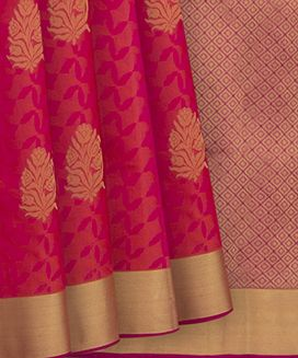 Pink Handwoven Soft Silk Saree with Floral Butta