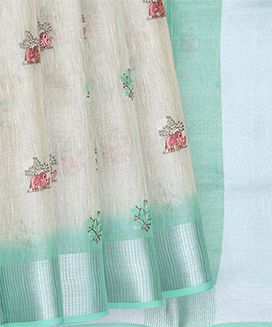 Off White Blended Linen Saree with Elephant and Flower Embroidery with Light Blue Border and Pallu