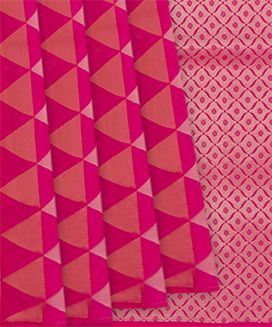 Hot Pink Handwoven Soft Silk Saree with Lilac Triangles
