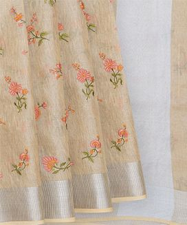 Sandal Handwoven Linen Saree with Flower Embroidery