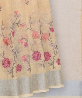 Sandal Handwoven Linen Saree With Floral Embroidery