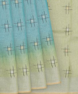 Light Blue Blended Tissue Linen Saree With Gold and Silver Square Buttas