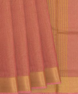 Peach Blended Tissue Linen Saree With With Plain Body and Golden Zari Border