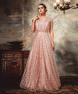 Embroidered Dusty Pink Gown-M-XL