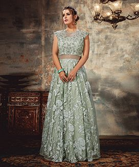 Embroidered Pale Olive Gown-M