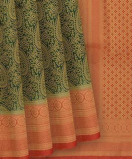 Green Blended Raw Silk Saree With Paisley Motifs And Contrast Red Border and Pallu