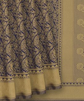Dark Blue Blended Raw Silk Saree With Pasley Motifs on Body With Self Border