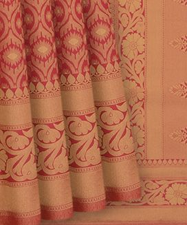 Pink Blended Raw Silk Saree With Moghul Jal Motifs With Self Border