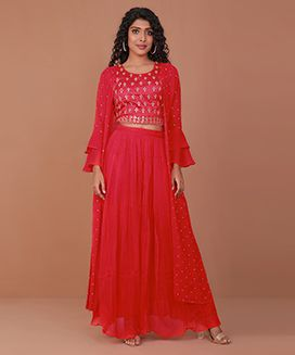 Red embroidered skirt set-L-M-S-XL-XXL