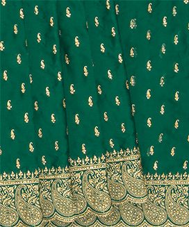 Green Faux Satin Saree with Paisley Motifs In Stone Work Embroidery