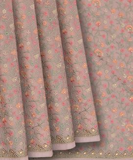 Dusty Pink Faux Chiffon Embroidery Saree With Paisley and Vine Motif