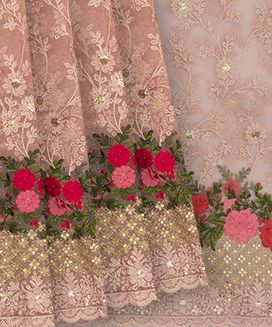 Dusty Pink Net Embroidery Saree With Multi colour Flower And Stone Work
