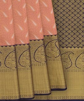 Baby Pink Handwoven Kanchipuram Korvai SIlk Saree With Floral Motifs in Gold and Petals in Silver Zari
