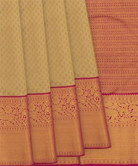 Beige Handwoven Kanchipuram Korvai Silk Saree with Horse and Elephant Motifs in Evening Morning Border
