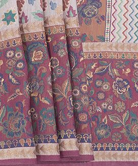 Cream Handwoven Tussar Silk Sari With Patterns Of Leaves And Flowers