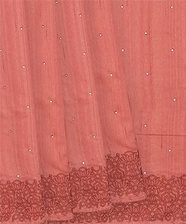 Peach Blended Silk Saree with Flower Embroidered Motifs With Stone Work