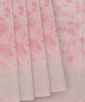 Bubble Gum Pink Handwoven Linen Saree With Mango Embroidery