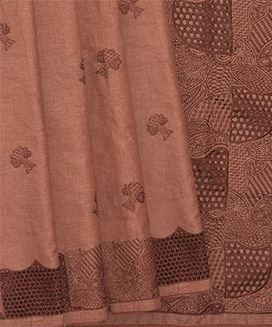 Rust Blended Raw Silk Saree With Cut Work embroidery Tree Motifs